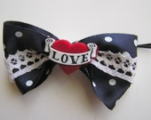 ON SALE (4 USD) Tattoo Heart Navy Bow Pin Up Rockabilly
