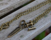 Sewing machine scissors necklace antique bronze finish
