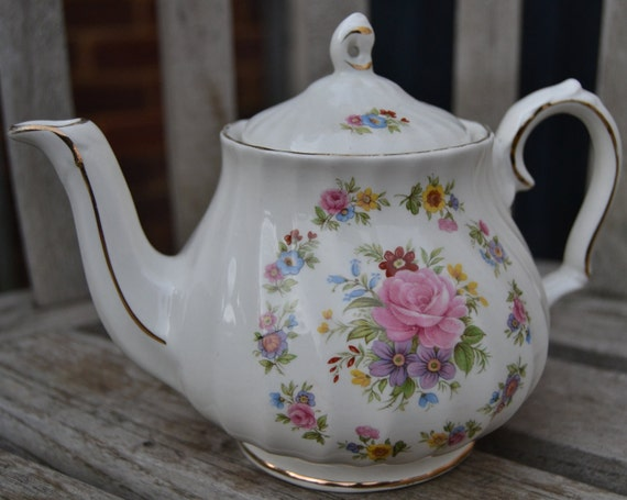 vintage china tea pot floral made in England