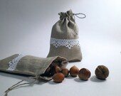 Linen Pouch / Bags - Set of 4 Natural Linen Gift Bags Decorated With Lace