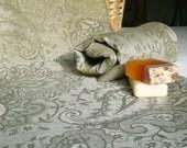 Linen Towels Set of 2 Luxury Linen Towel  Olive Green Linen Damask Towel Eco Friendly Throw