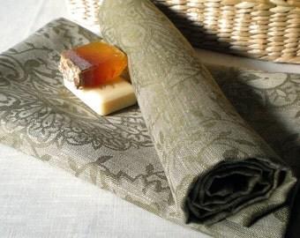 Linen Towel Beach Big Towel Luxury Linen Towel Olive Green Towel Linen Damask Towel Damask Throw Eco Friendly Towel