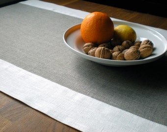 Table Runner Natural Linen Runner  Gray And White Borders Runner Spring Runner Simplicity Table Runner