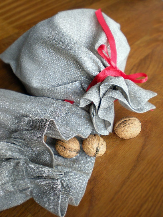 FREE Shipping 2 Gift Bags - Shiny Sliver And Natural Linen For Valentine's Gifts