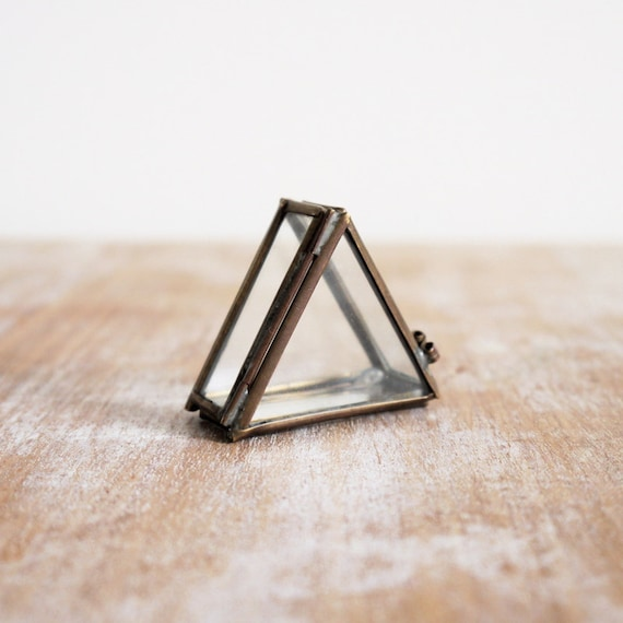 Vintage small triangle trinket glass and brass box with hinge