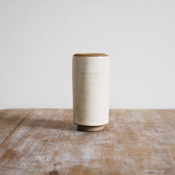 Vintage vase or jar white cream earthenware vase or jar