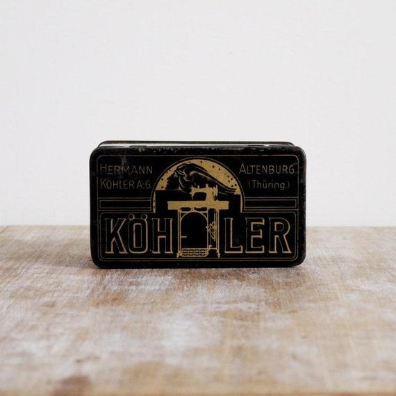 Vintage German 1920s black and gold sewing tin or metal box