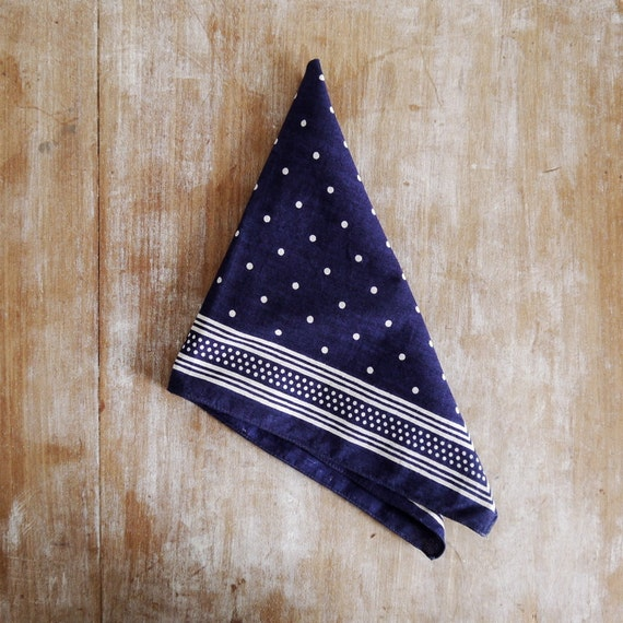 Vintage Belgian French handkerchief blue deep dyed spotted