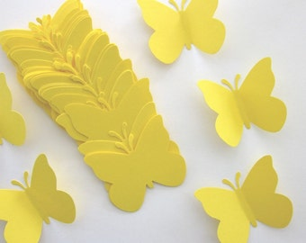 50 Large Yellow  Butterfly  die cuts
