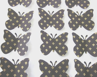 50 Large Black and Gold  Butterfly  die cuts