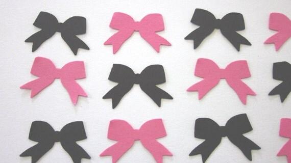 100 Pink / Black  Bow Die Cuts