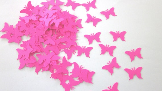 100 Hot Pink  Butterfly Die Cuts
