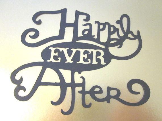 2 Large Happily Ever After  Phrase die cuts