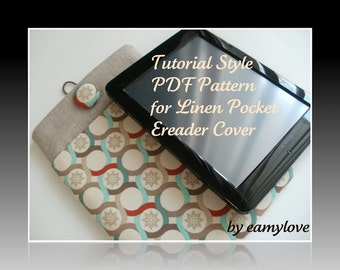 SALE - Linen Pocket Ereader Cover - Tutorial Style PDF Pattern