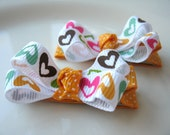 Cora - Hair clips in heart and polka dot ribbon