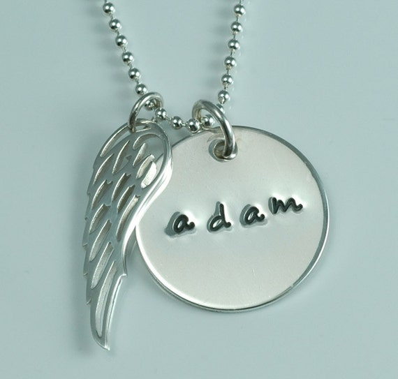 Personalized sterling silver pendant with wing charm