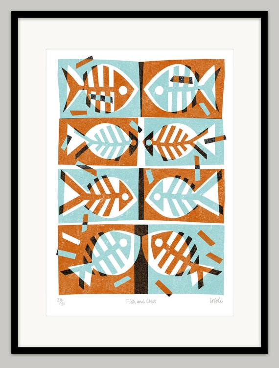 Fish & Chips by Lo Cole - Limited edition archival pigment ink print