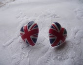 Union jack UK earrings red white blue baby
