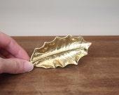 vintage brass leaf Virginia Metalcrafters holly leaf vintage woodland decor trinket dish
