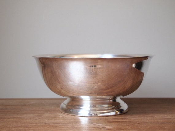 vintage pedestal bowl Paul Revere style engraved, silverplate home decor trophy