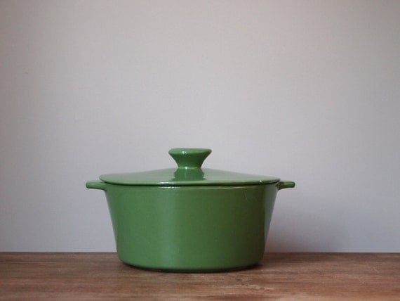 vintage casserole dish lidded green Mount Clemens Pottery holiday serving