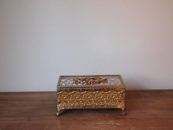 vintage jewelry box lidded gold filigree glass lid