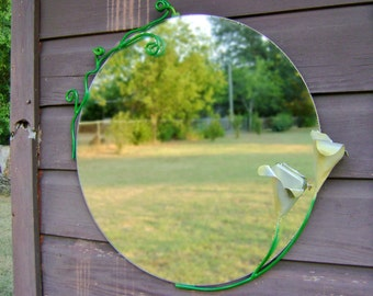 """Metal Mirror with handmade Lily Flowers. 26"""" round"""