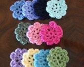 Set of Five Crochet Flower Hair Clips  for Babies / Little Girls