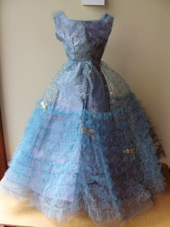 Darling Debbie Doll Dress Gown and Stole Blue with Silver Threads Original Doll Clothing