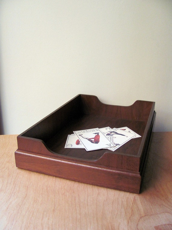 File Tray Mail Box Paper Tray Legal Size Wood Vintage Desk