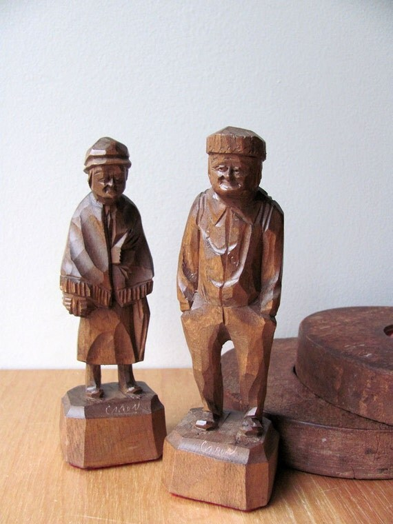 Caron Figures Statues Hand Carved Folk Art Wood By
