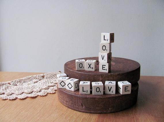 Valentine Scrabble Game Letter Dice Cubes Love Kisses Hugs. Wood Full Set of 13