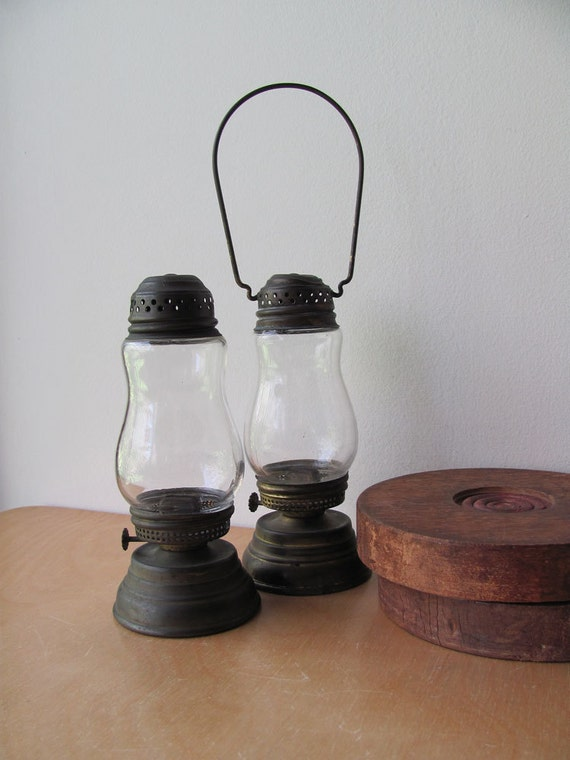 Kerosene Lanterns Lamps Small All Original. Brass and Glass Both for One Price