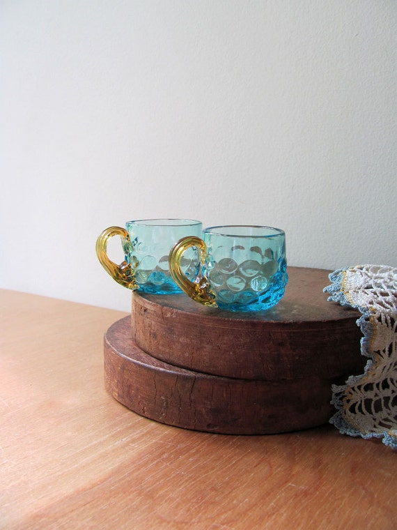 Hand Blown Art Glass Cups Miniature Tea Party Blue and Amber Beautiful