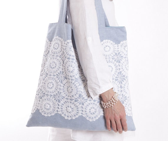 Bag, cotton tote, blue with vintage white lace - Custom Order