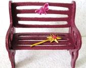 Miniature Fairy Garden Bench Plum: Miniature Dragonfly Pink