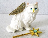 Miniature Garden Fairy Cat White Persian: Mini Magic Wand