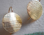 Solid Gold and Silver Earrings - Modern Disc Earrings with Gold Patterned Metal