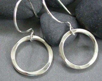 Hammered Sterling Silver Circle Earrings - Hammered Silver Circle Drops