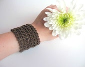 Knitted Brown Stretchy Cuff Bracelet, Boho, Women's Fall / Autumn Fashion Accessories