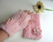 Knit Romantic Pastel Pink Fingerless Gloves with Crocheted Flower and Pearl