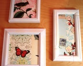Framed Vintage Style Collage Wall Art Birds Butterflies Flowers to Make you Smile