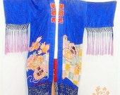SALE Vintage 20s Rare Antique SILK Kimono Fringed JACKET