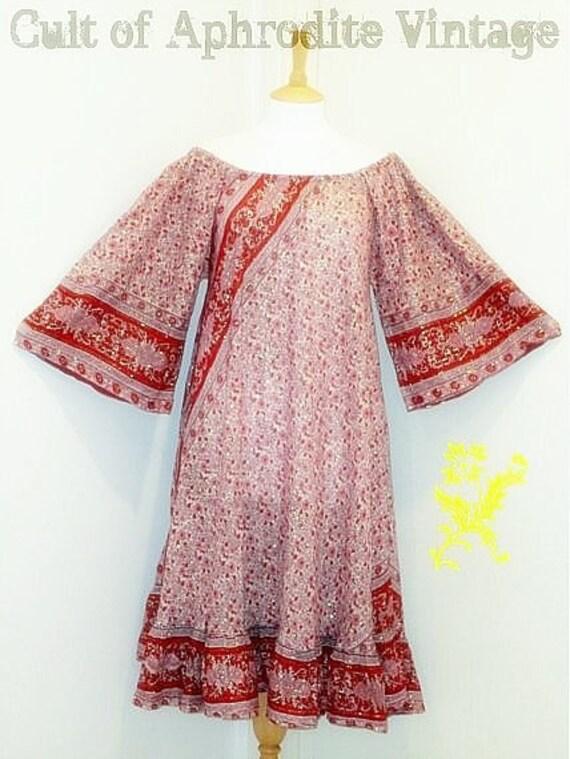 SALE Vintage 70s Indian Gauze FLORAL Hippie DRESS