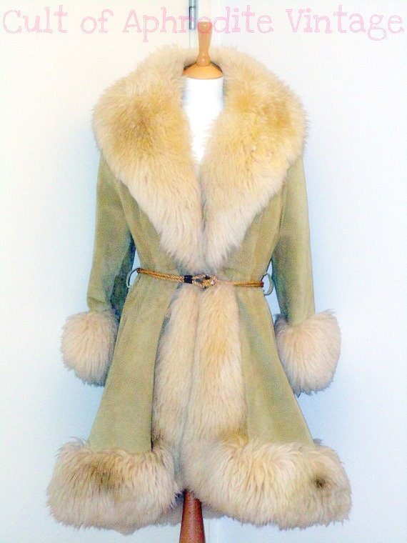 Vintage 60s Rare Lilli ANN Sheepskin Shearling Fur Suede Leather Princess COAT