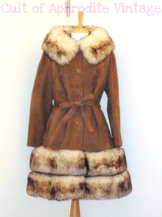 Sale Vintage 60s Suede Leather Shearling Lamb Wool Trim Belted