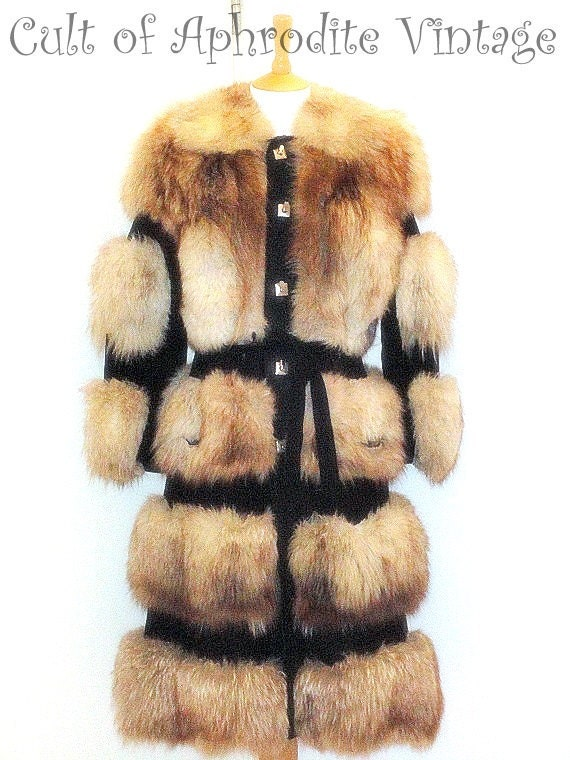 Reserved // Vintage 80s Arctic Fox Fur Crystal Shaggy Suede LEATHER Belted Jacket COAT