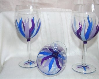 blue streamers wineglass hand painted