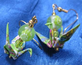 Lime Origami Crane Earrings