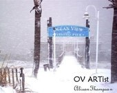 Ocean View Fishing Pier in the in the Snow Photograph 8 x 10 , numbered and signed